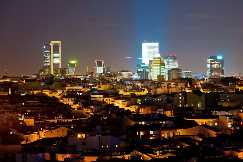 Noc pejzaż miejski Madryt zdjęcie stock