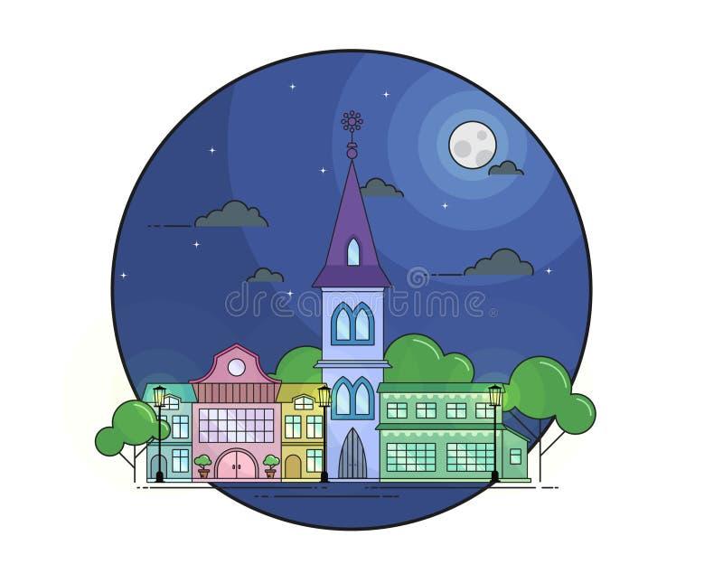 Noc pejzaż miejski w kreskowej sztuki stylu z księżyc, strars, drzewami i budynkami, fotografia stock