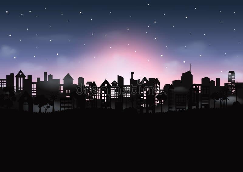 Noc pejzażu miejskiego sceny tło royalty ilustracja