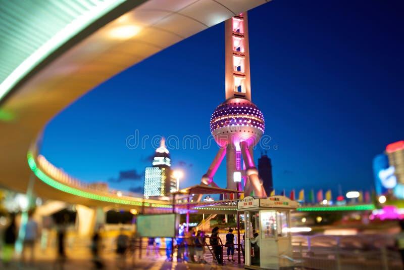 noc perełkowy Shanghai wierza zdjęcie royalty free