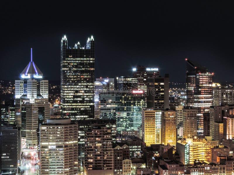 noc Pittsburgh linia horyzontu obrazy royalty free