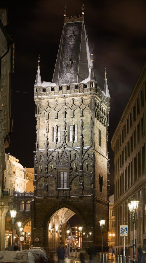 noc Prague śnieg obrazy royalty free