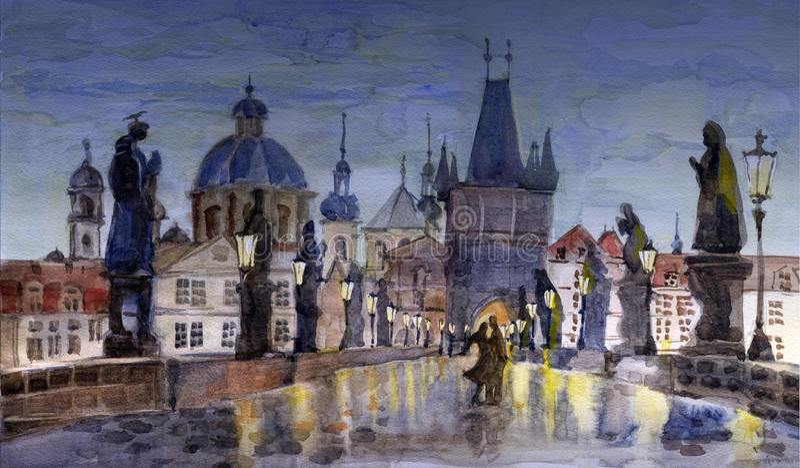 noc Prague ilustracja wektor