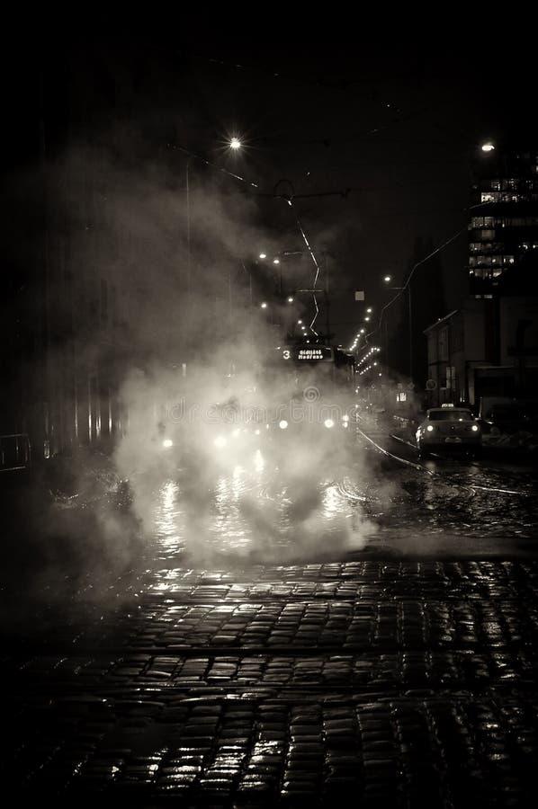 noc Prague ulica obrazy stock