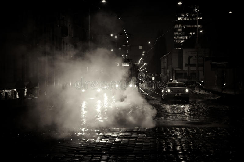 noc Prague ulica fotografia stock