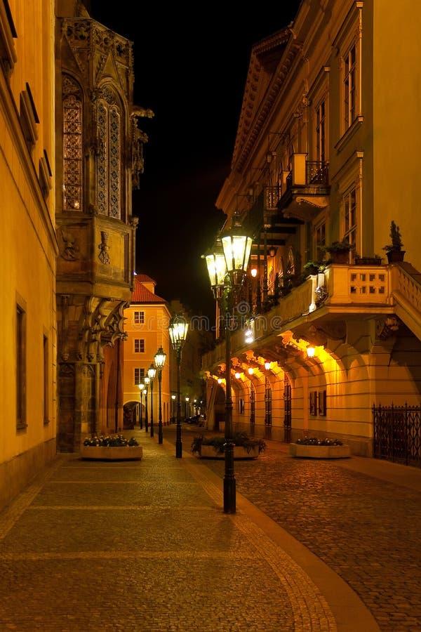 noc Prague ulica obrazy royalty free