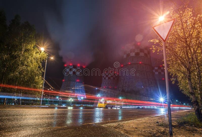 Noc przemysłowy widok zdjęcia stock