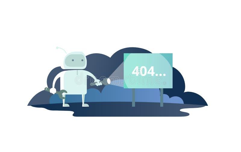 Noc robot z latarką w astronautycznym signboard 404 błędzie śliczna ilustracja dla błąd strony 404 znajdującej royalty ilustracja