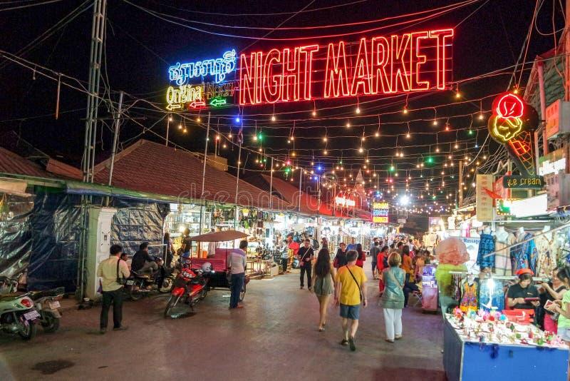 Noc rynek podpisuje Siem wewnątrz Przeprowadza żniwa, Kambodża, obraz royalty free