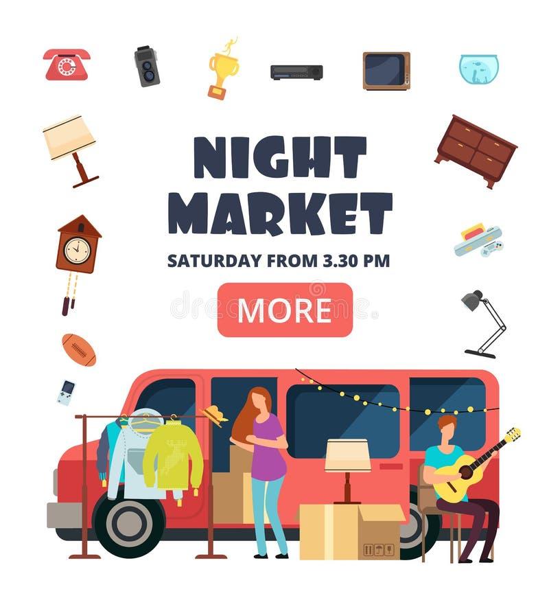 Noc rynek, uliczny bazaru zaproszenia plakat Pchli targ wektoru ulotka ilustracji