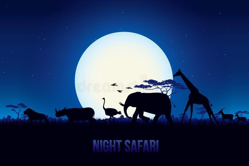 Noc safari ilustracja wektor