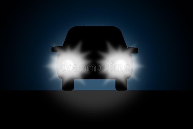 Noc samochód royalty ilustracja