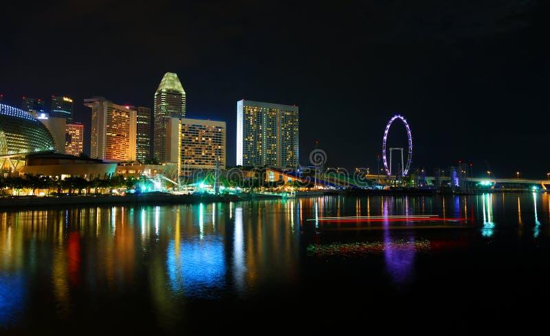 noc scena Singapore fotografia stock