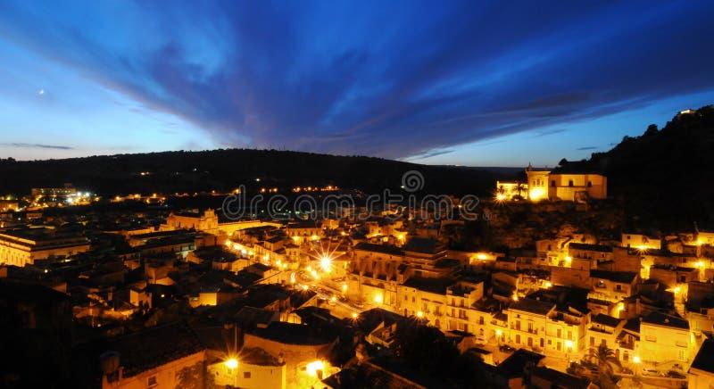 noc sceny wioska fotografia stock