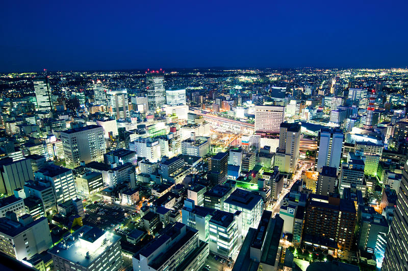 noc Sendai staci pociąg obraz royalty free