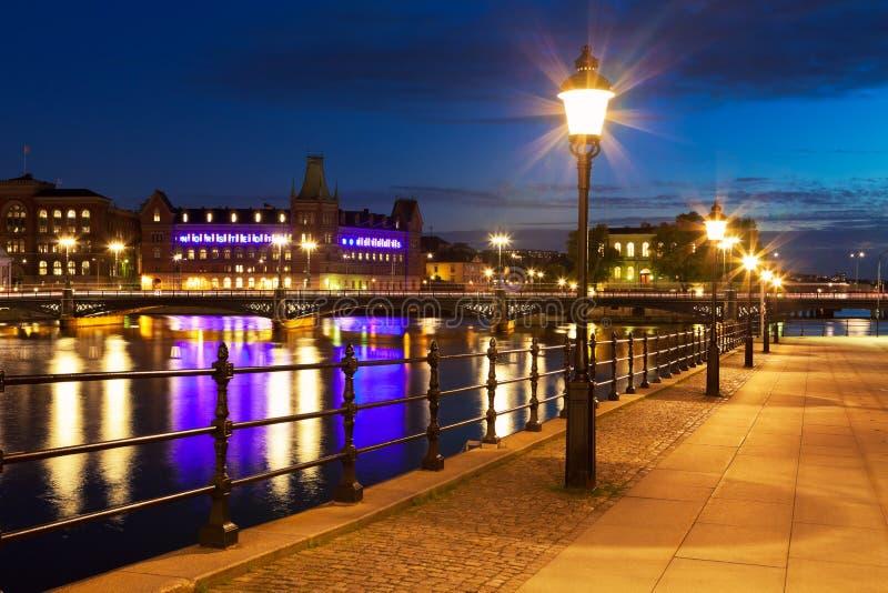 noc stary Stockholm Sweden miasteczko zdjęcie royalty free
