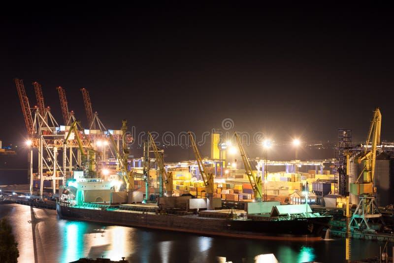 Noc statek i port fotografia royalty free