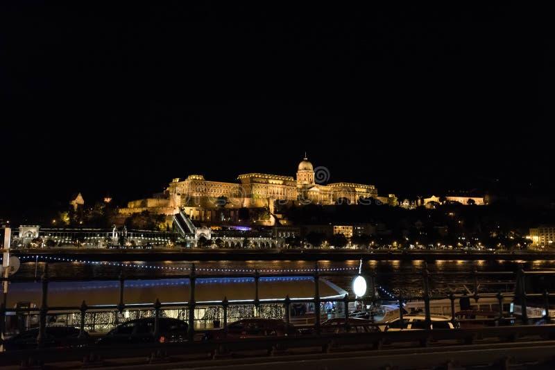 Noc strzał lokalizować w Budapest Buda kasztel obraz stock