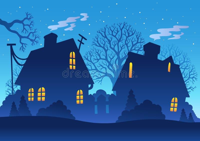 noc sylwetki wioska ilustracja wektor