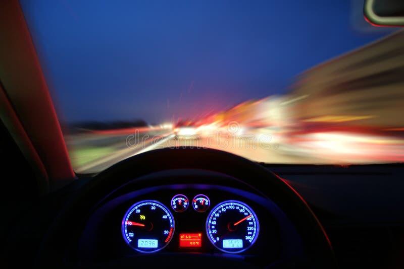 noc szybko jadący zdjęcie stock