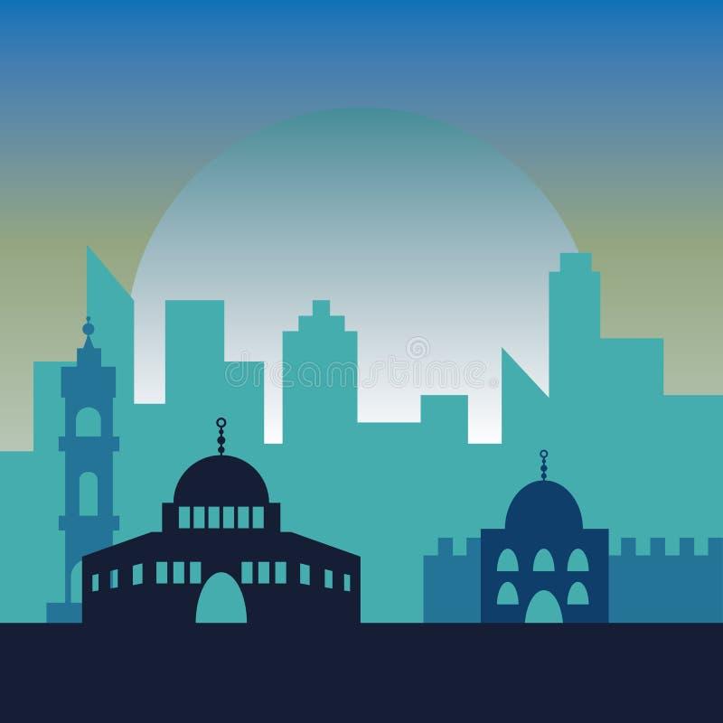 Noc w Jerozolima Żydowscy symbolu miasta budynki obrazy stock