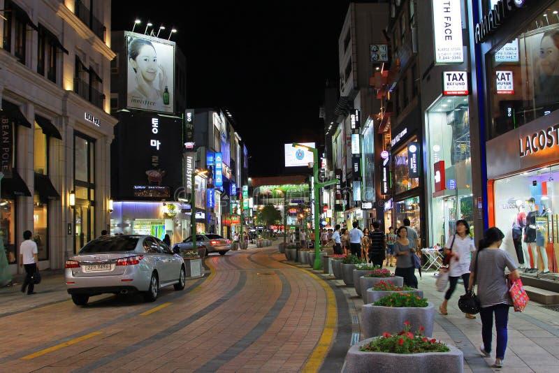 Noc W Korea Busan zakupy ulicie zdjęcie royalty free