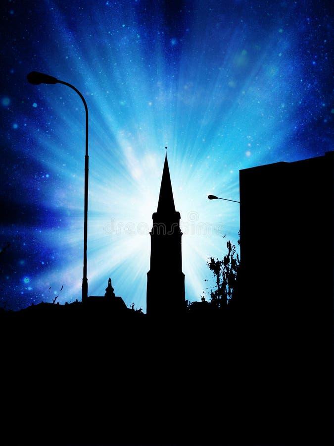 Noc w miasteczku ilustracji
