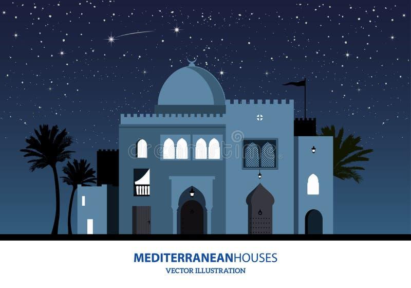 Noc widok śródziemnomorscy, arabscy lub marokańscy stylowi domy, royalty ilustracja