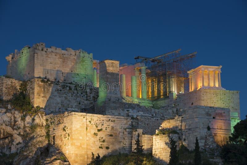 Noc widok akropol zdjęcie stock
