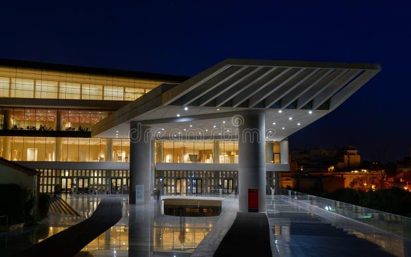 Noc widok akropolu muzeum zdjęcia stock
