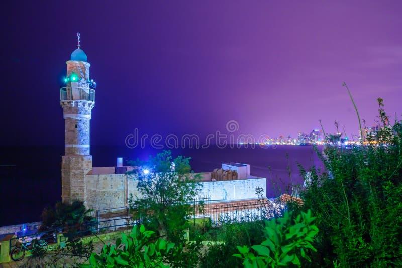 Noc widok al meczet, Haffa zdjęcia stock