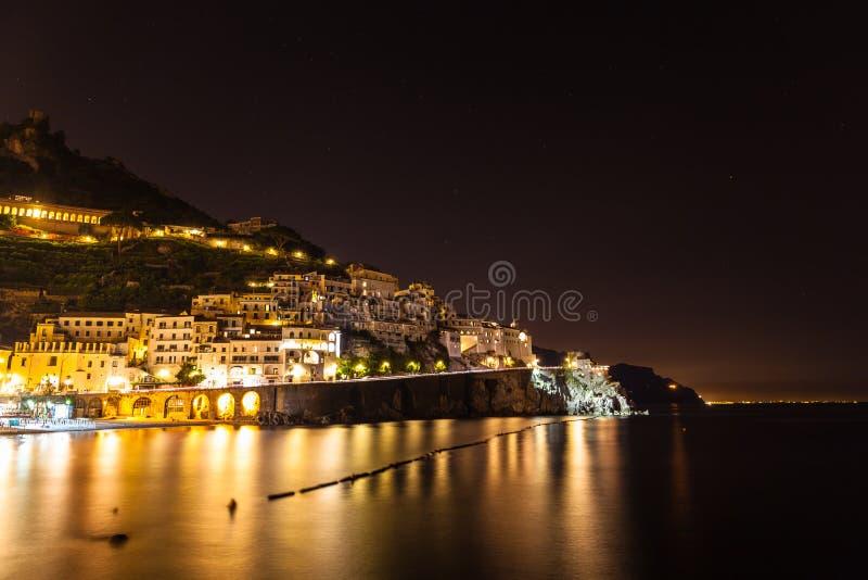 Noc widok Amalfi zdjęcie royalty free