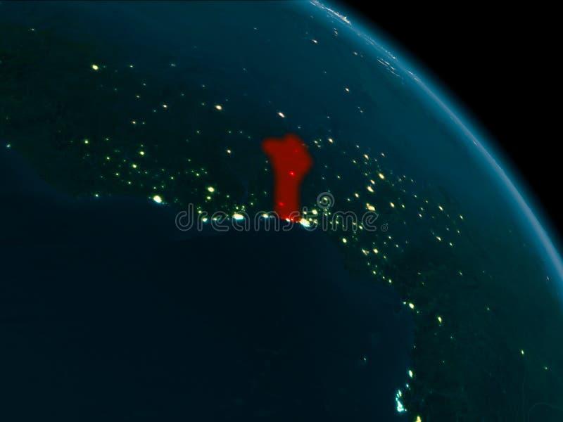 Noc widok Benin na ziemi ilustracji