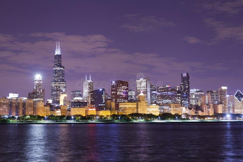 Noc widok Chicago zdjęcia royalty free