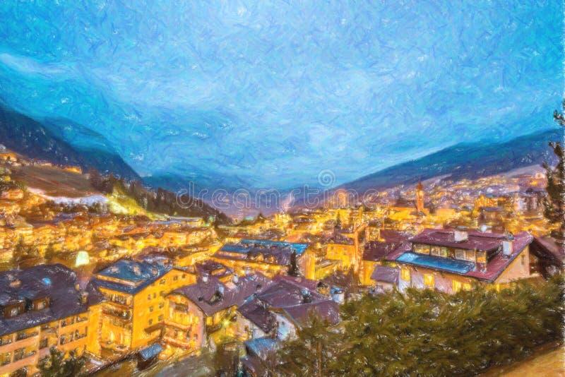 Noc widok górska wioska w wysokogórskiej dolinie royalty ilustracja