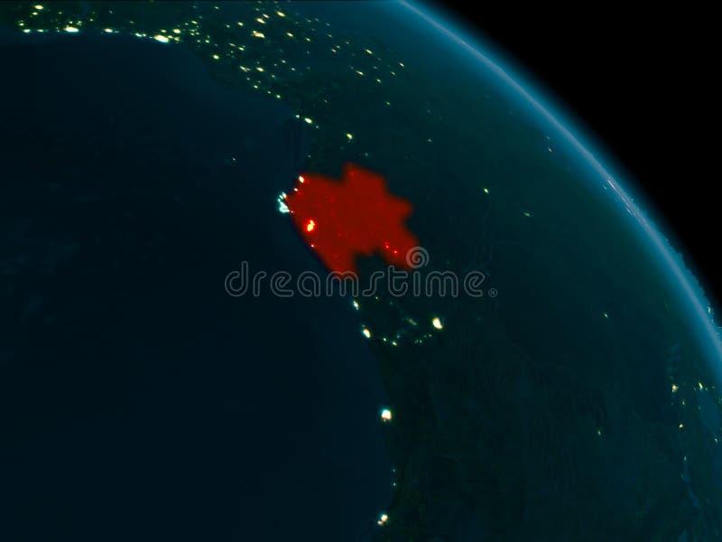 Noc widok Gabon na ziemi ilustracja wektor