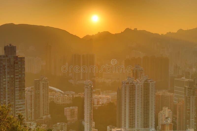Noc widok HK przy Sir Cecils Jadący obraz royalty free
