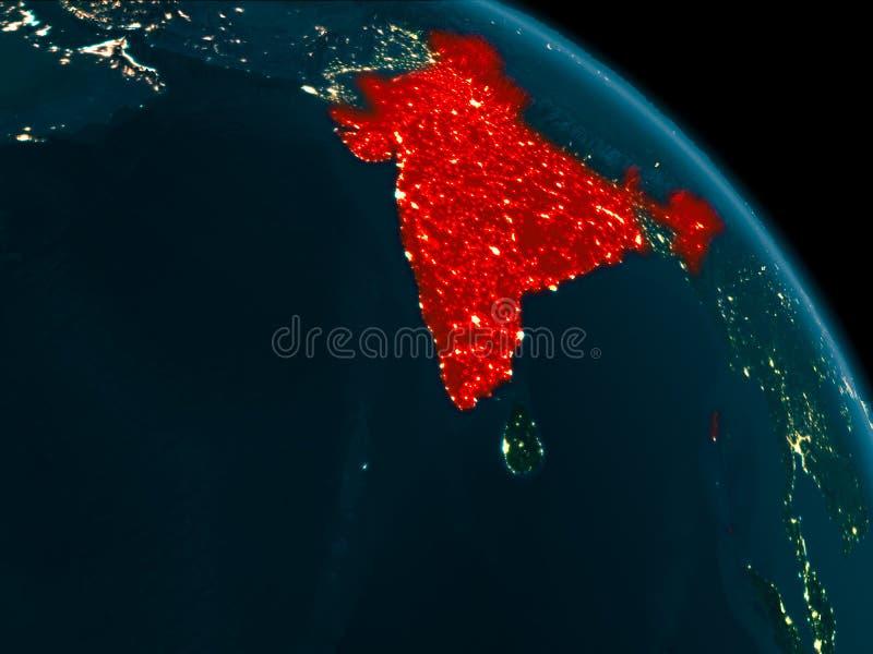 Noc widok India na ziemi ilustracji