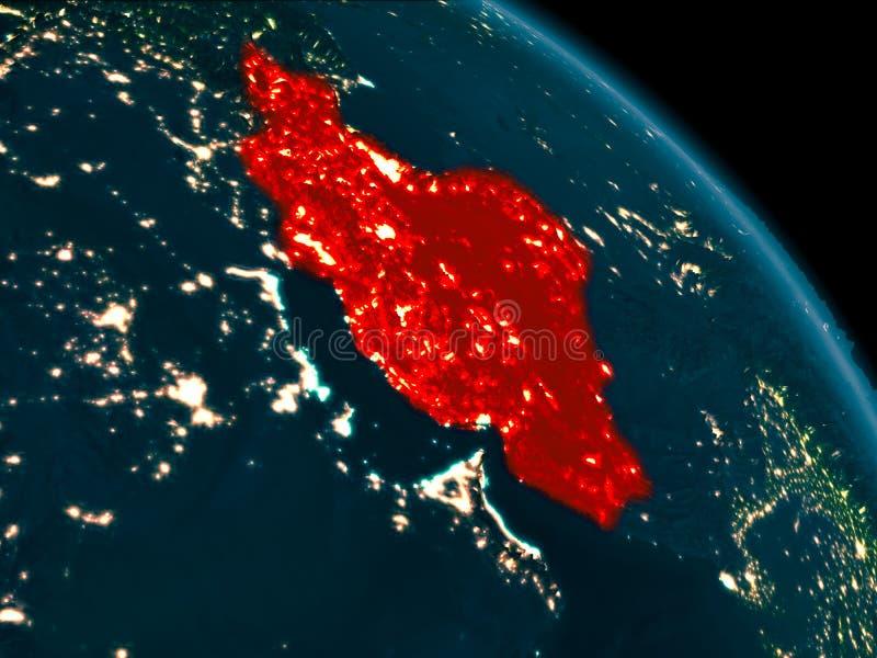 Noc widok Iran na ziemi royalty ilustracja