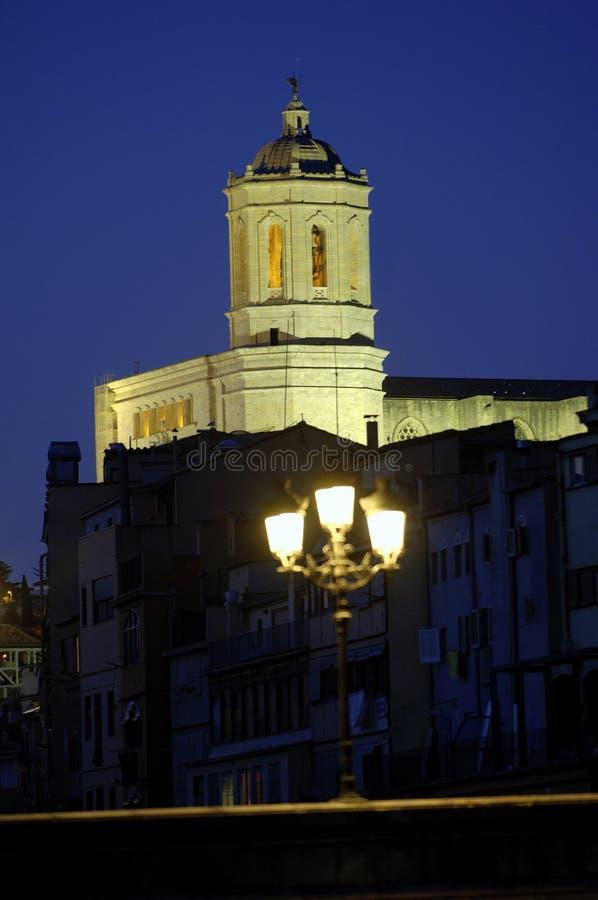 Noc widok katedra Girona, Catalonia, Hiszpania obraz stock