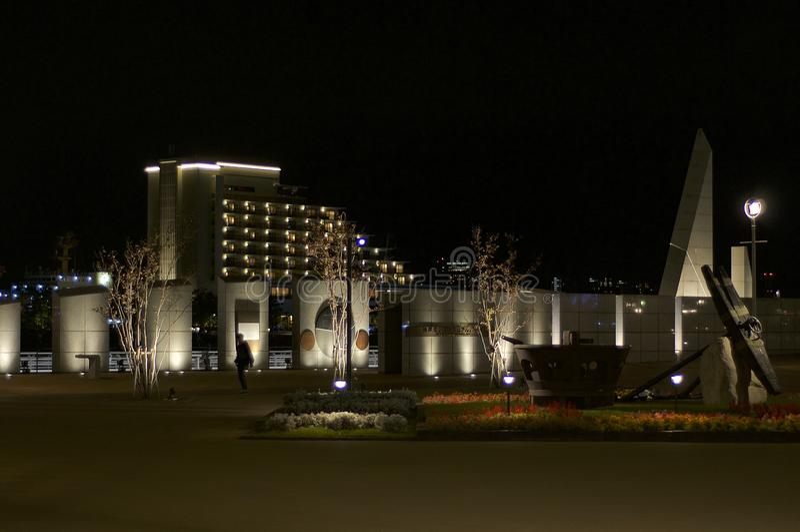 Noc widok Kobe Memorial Park w Kobe, Japonia zdjęcia stock