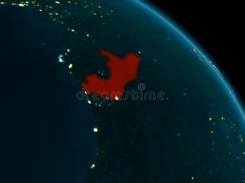 Noc widok Kongo na ziemi royalty ilustracja