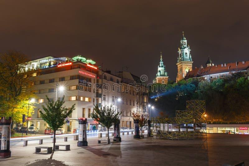 Noc widok Królewski Wawel kasztel, Krakow obraz stock