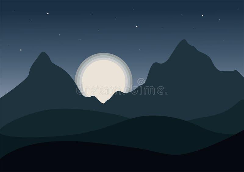 Noc widok kreskówki góry krajobraz z falistymi wzgórzami pod nocy szarość niebem z olśniewającą księżyc z gwiazdami ilustracja wektor