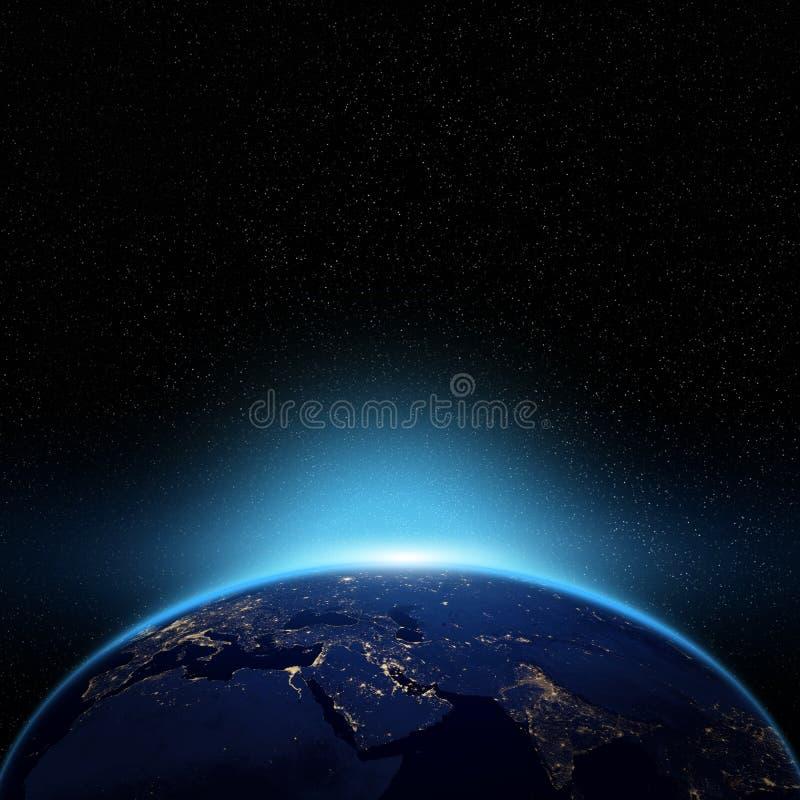 Noc widok kula ziemska ilustracji