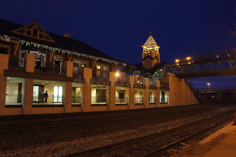 Noc widok Lafayette stacja fotografia stock
