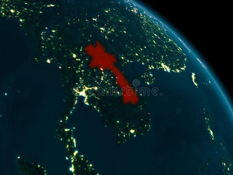 Noc widok Laos na ziemi royalty ilustracja