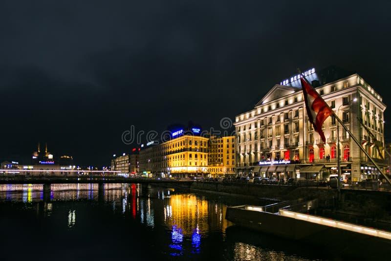 Noc widok Lemański jezioro fotografia stock