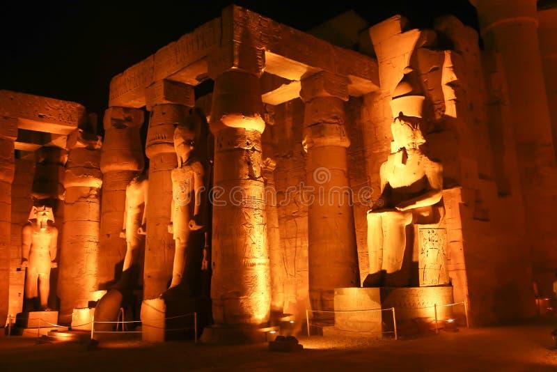 Noc widok Luxor świątynia fotografia royalty free