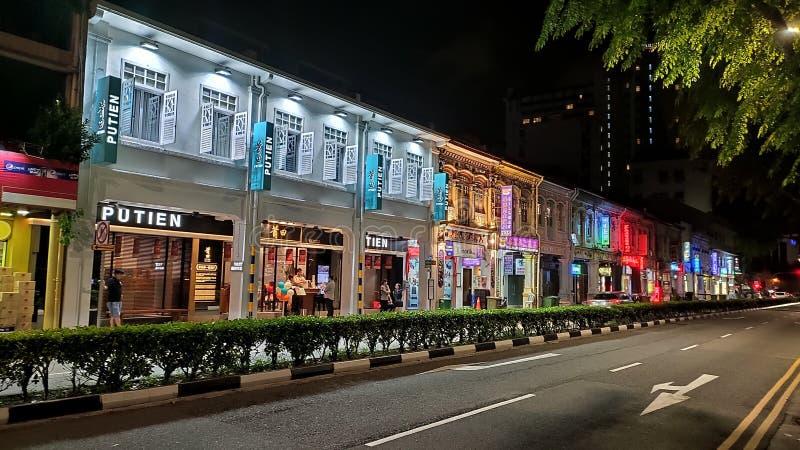 Noc widok Mały India, Singapur obraz stock